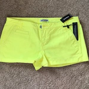 Express summer shorts in bright yellow